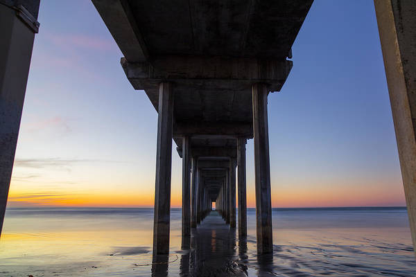 Scripps Pier Photograph - Under Scripps Pier At Sunset In La Jolla by Michael Sangiolo
