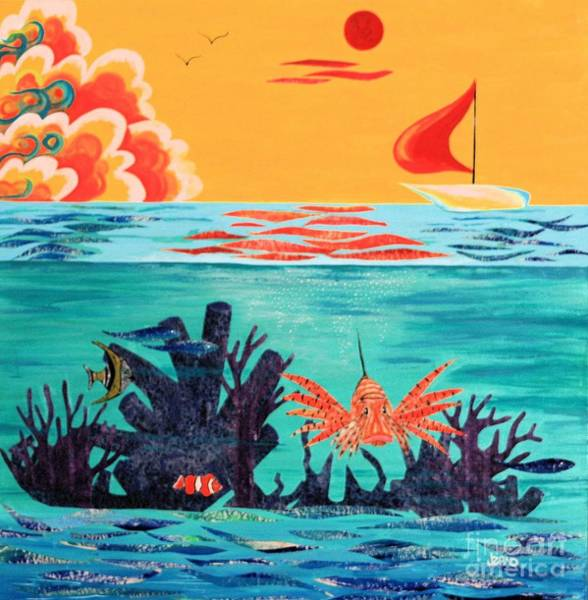 Mixed Media - Bright Coral Reef by Jean Clarke