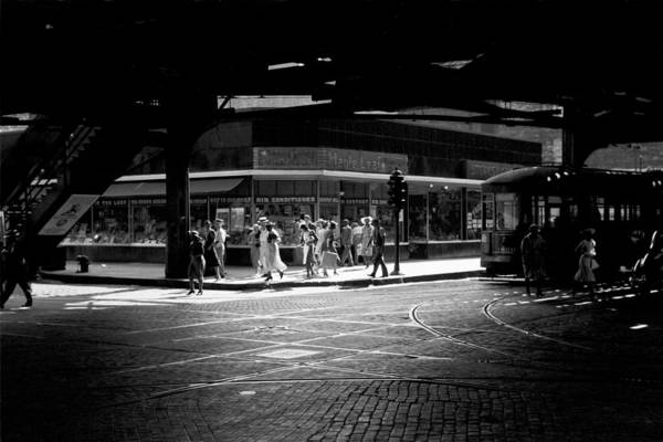 Photograph - Under The Elevated Railway Chicago Illinois 1940  by John Vachon Presented by Joy of Life Art