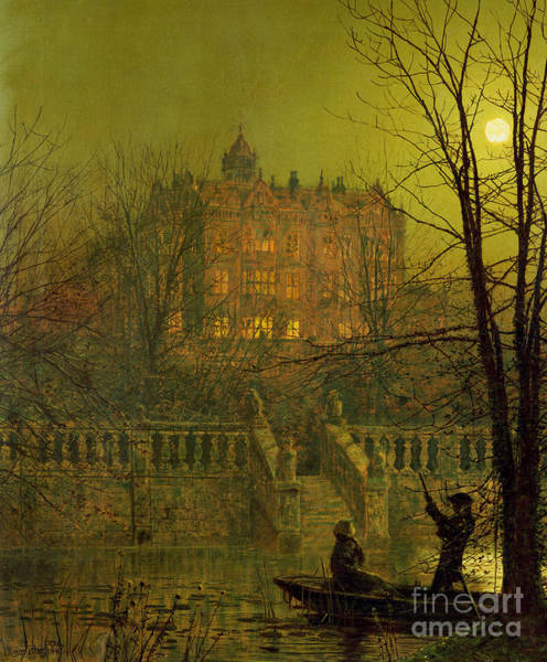 Punt Painting - Under The Moonbeams, 1882 by John Atkinson Grimshaw