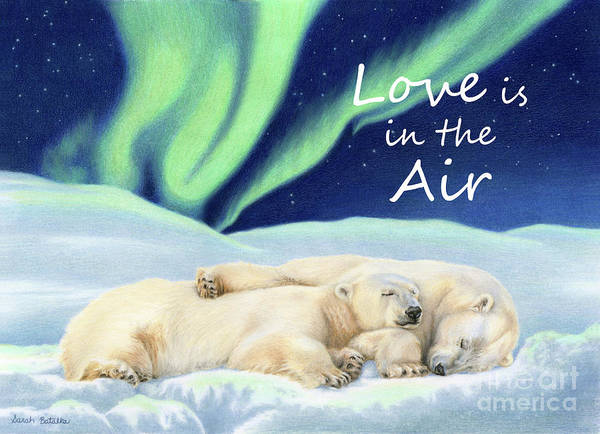 Aurora Borealis Painting - Under The Northern Lights- Love Is In The Air by Sarah Batalka