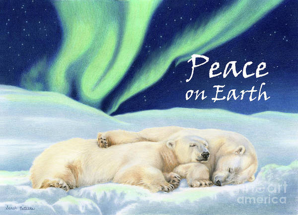 Aurora Borealis Painting - Under The Northern Lights- Peace On Earth Cards by Sarah Batalka