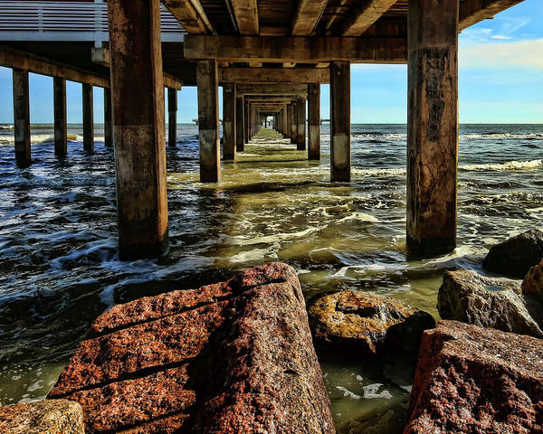 Under The Pier Photograph - Under The Pier by Judy Vincent