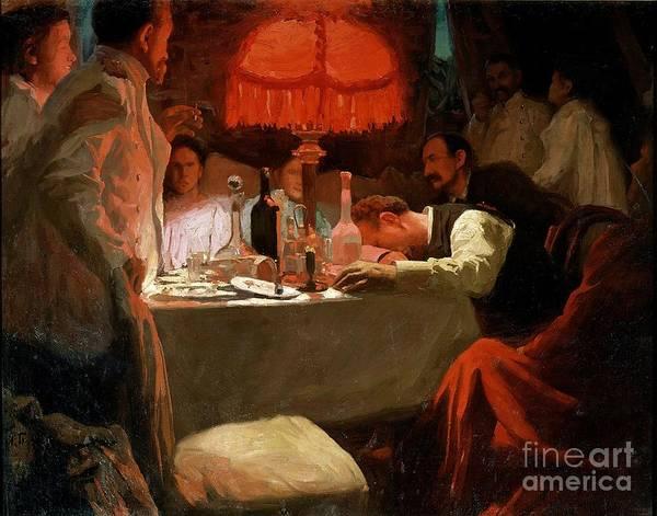 Sick Painting - Under The Red Light by Lukjan Vasilievich Popov