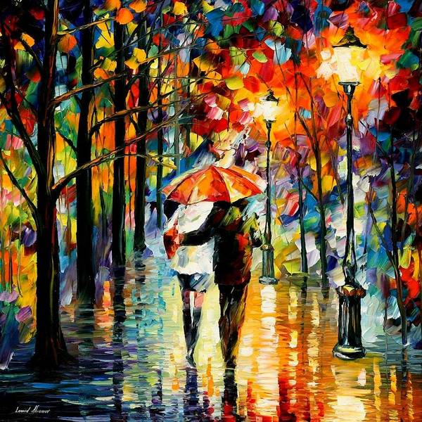 Leonid Wall Art - Painting - Under The Red Umbrella by Leonid Afremov