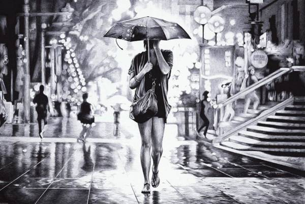 Wet Drawing - Under The Umbrella - Ballpoint Pen Art by Andrey Poletaev