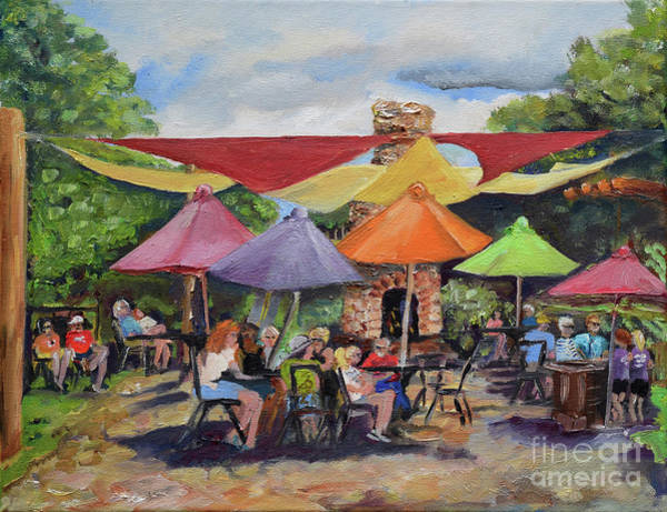Painting - Under The Umbrellas At The Cartecay Vineyard - Crush Festival  by Jan Dappen