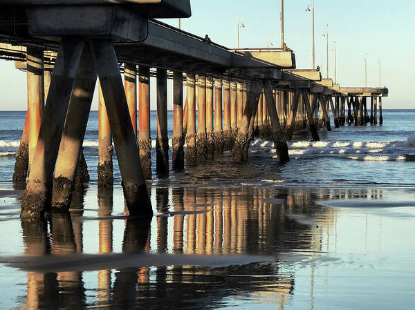 Under The Pier Photograph - Under The Venice Beach Pier by Art Block Collections