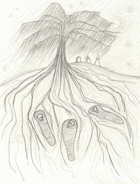 Gravestone Drawing - Under The Willow Tree By Jrr by First Star Art