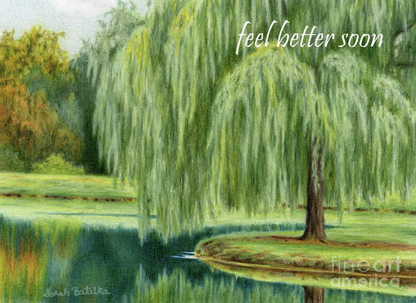 Wall Art - Painting - Under The Willow Tree- Feel Better Soon Cards by Sarah Batalka