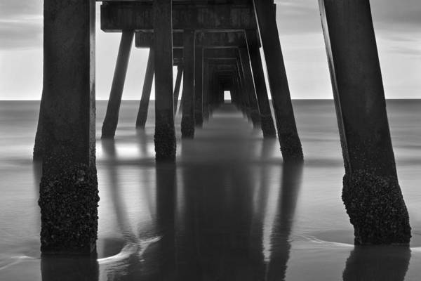Photograph - Underneath The Pier - Jacksonville Beach - Florida - Black And White by Jason Politte
