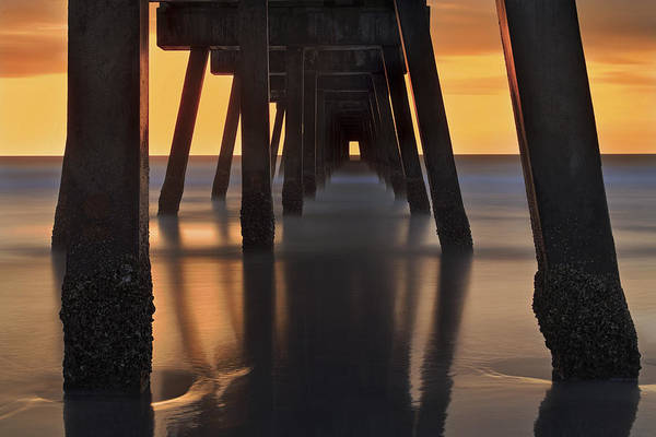 Photograph - Underneath The Pier - Jacksonville Beach - Florida - Sunrise by Jason Politte