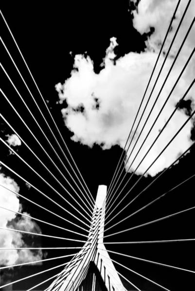 Black And White Photograph - Underneath The Zakim by Andrew Kubica