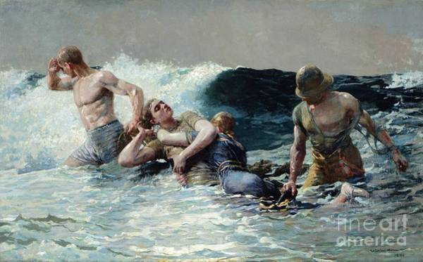 Saving Wall Art - Painting - Undertow by Winslow Homer