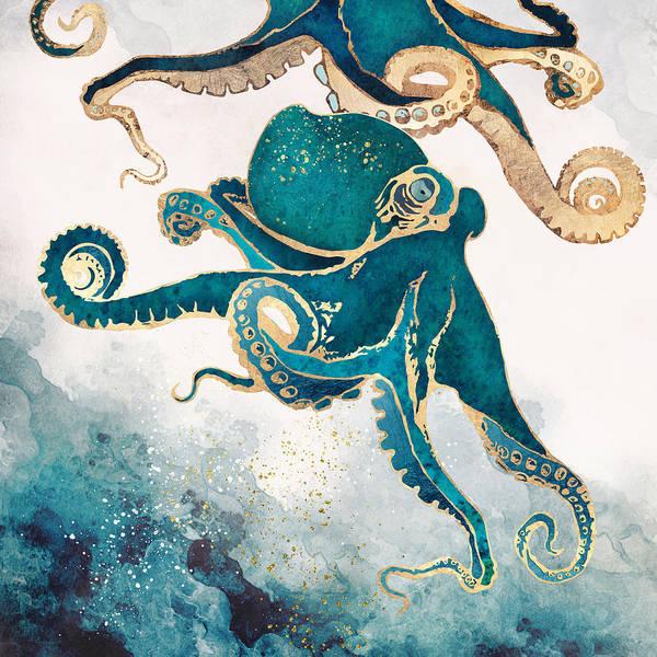 Tentacles Digital Art - Underwater Dream V by Spacefrog Designs