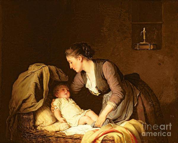 Ready Painting - Undressing The Baby by Meyer von Bremen