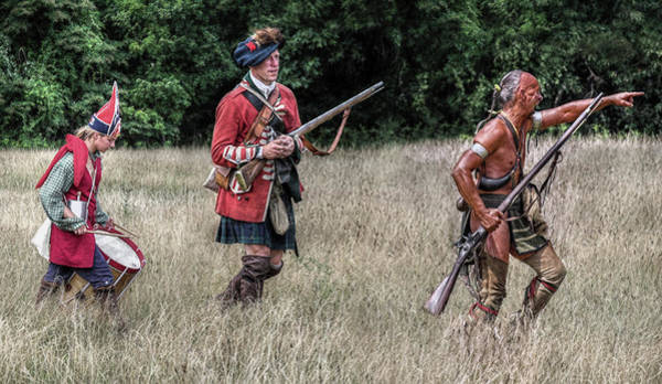 Marching Digital Art - Uneasy Allies British Soldier And Woodland Indian by Randy Steele