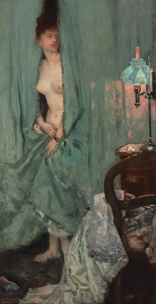 Drapes Painting - Unexpected Visit by Henri Gervex