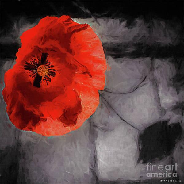 Red Poppy Mixed Media - Unforgotten by Mona Stut