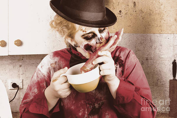 Wall Art - Photograph - Unhealthy Zombie Eating Finger Food by Jorgo Photography - Wall Art Gallery
