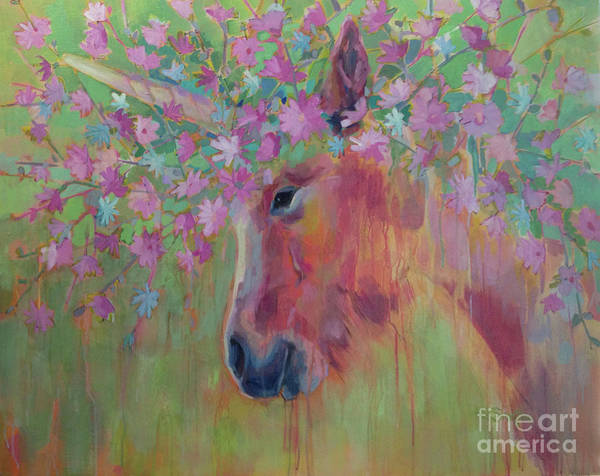 Unicorn Wall Art - Painting - Uni Corn Flower II by Kimberly Santini