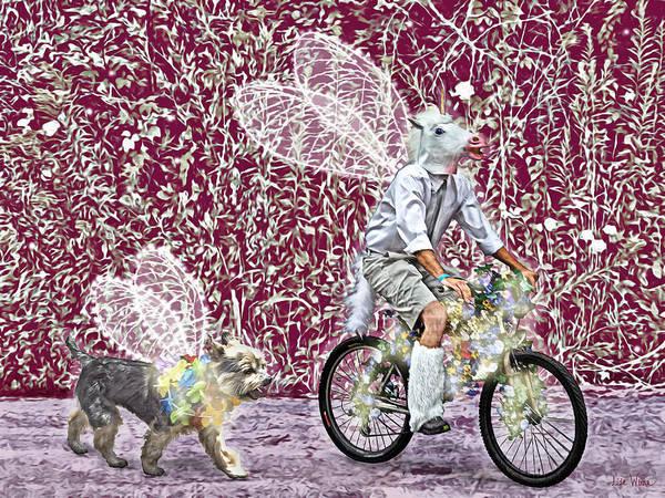 Digital Art - Unicorn And Doggie Fairies by Lise Winne