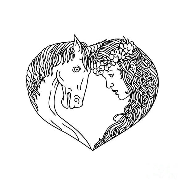 Wall Art - Digital Art - Unicorn And Maiden Heart Drawing by Aloysius Patrimonio