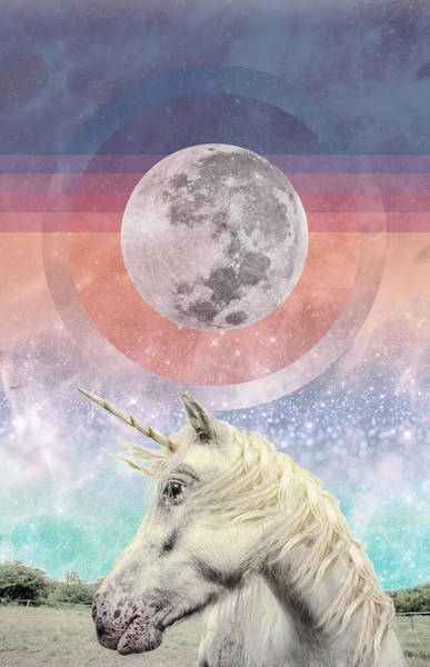 Unicorn Digital Art - Unicorn Full Moon Vision by Lori Menna