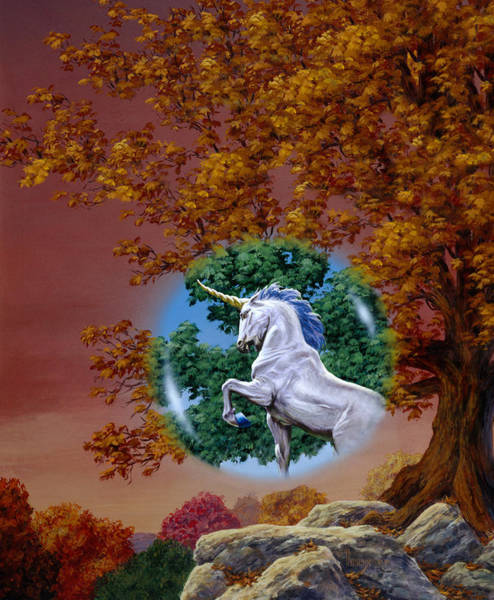 Mages Painting - Unicorn Grove by Richard Hescox