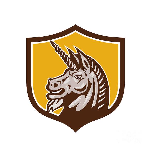Unicorn Horn Digital Art - Unicorn Horse Head Side Crest Retro by Aloysius Patrimonio
