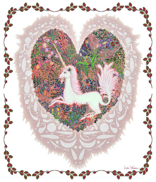 Digital Art - Unicorn In A Pink Heart by Lise Winne