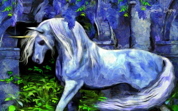 Ancient Woodland Painting - Unicorn - Van Gogh Style by Leonardo Digenio