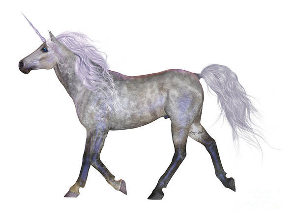Unicorn Horn Digital Art - Unicorn On White by Corey Ford