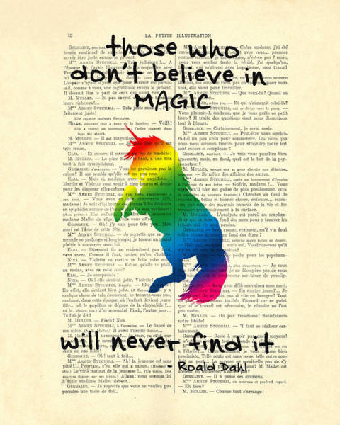 Unicorn Digital Art - Unicorn Rainbow - Magical Quote by Madame Memento