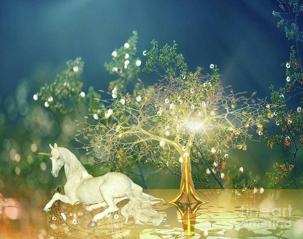 Digital Art - Unicorn Resting Series 2 by Digital Art Cafe