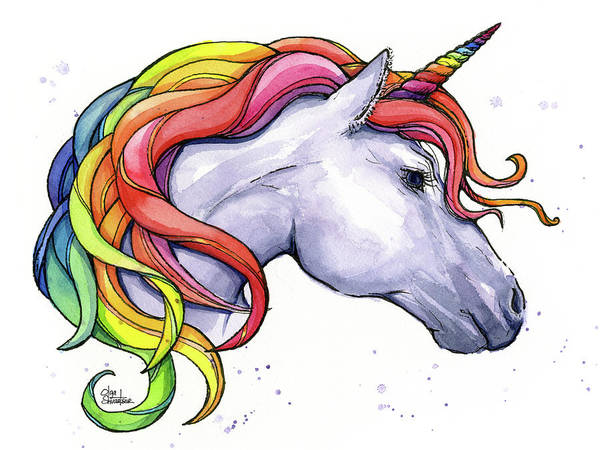Wall Art - Painting - Unicorn With Rainbow Mane by Olga Shvartsur