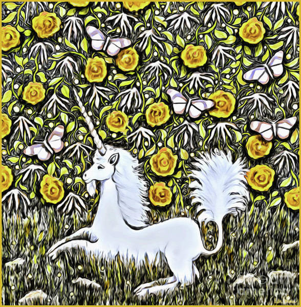 Photograph - Unicorn With Yellow Flowers And Butterflies by Lise Winne