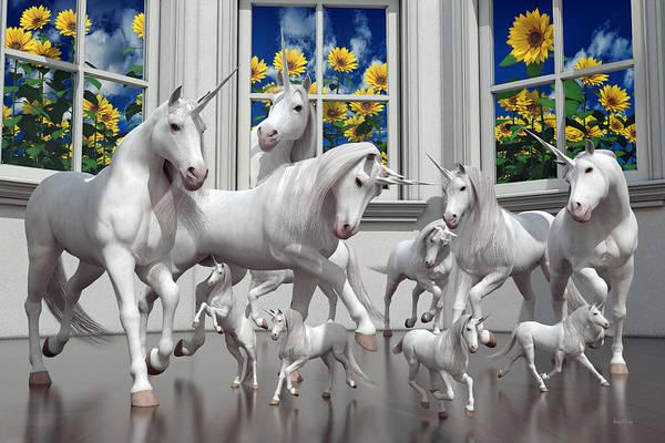 3d Render Digital Art - Unicorns by Betsy Knapp