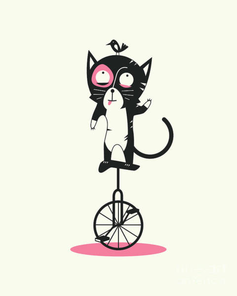 For Digital Art - Unicycle Cat by Jazzberry Blue