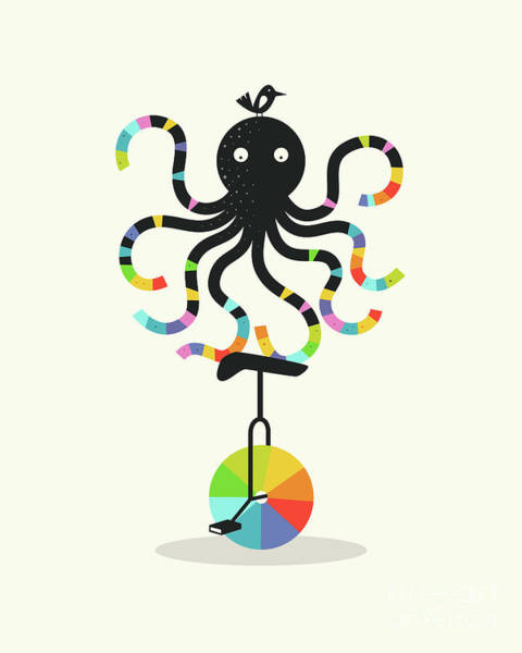 For Digital Art - Unicycle Octopus by Jazzberry Blue
