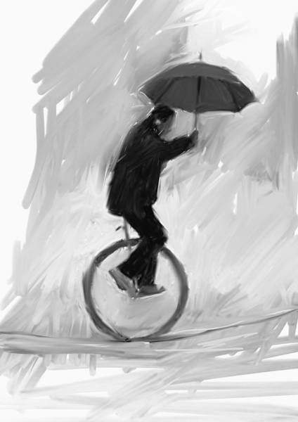 Circus Painting - Unicycle, Umbrella, Rope by H James Hoff