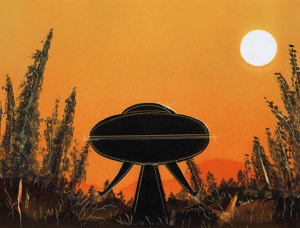 Painting - Unidentified Flying Object Landing by Jason Girard