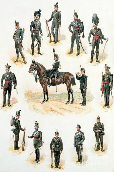 Soldier Drawing - Uniforms Of The Rifle Brigade by Richard Simkin