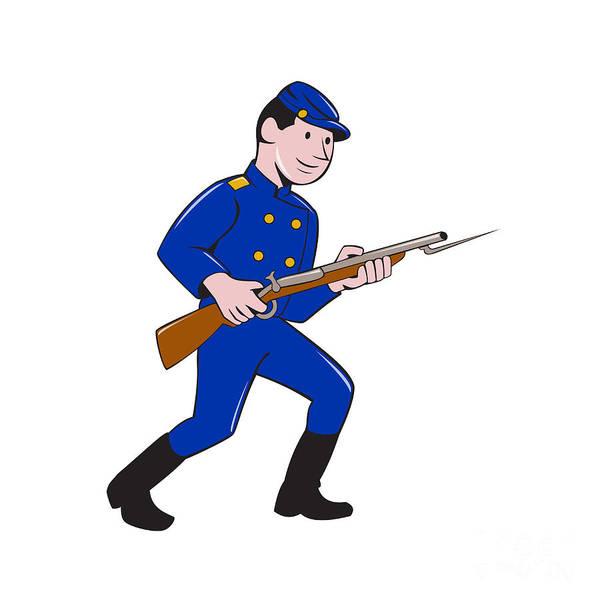 Union Army Soldier Bayonet Rifle Cartoon Art Print