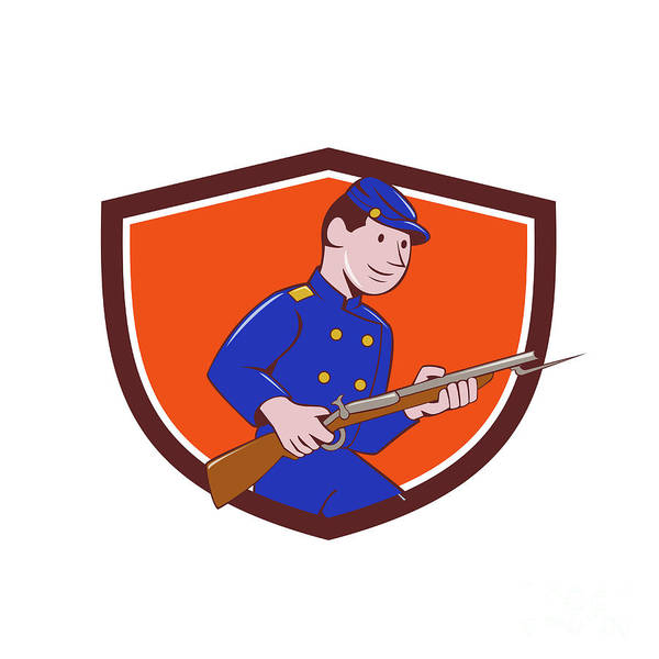 Union Army Soldier Bayonet Rifle Crest Cartoon Art Print
