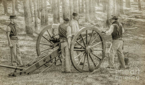 Artillery Digital Art - Union Cannon Civil War Sepia Version by Randy Steele