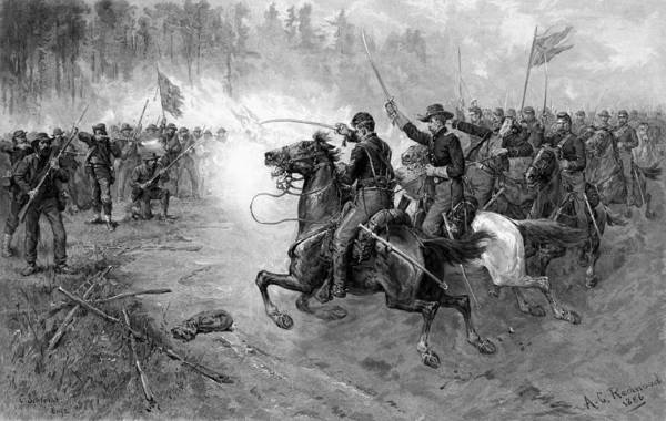 Wall Art - Drawing - Union Cavalry Charge by War Is Hell Store