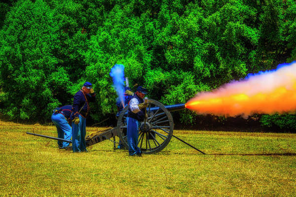 Wall Art - Photograph - Union Civil War Cannon Firing by Garry Gay