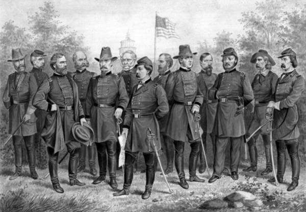 The War Between The States Wall Art - Painting - Union Generals Of The Civil War  by War Is Hell Store