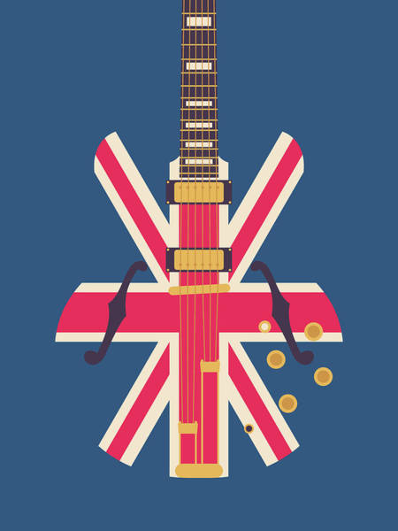 Wall Art - Digital Art - Union Jack Guitar - Original Blue by Ivan Krpan